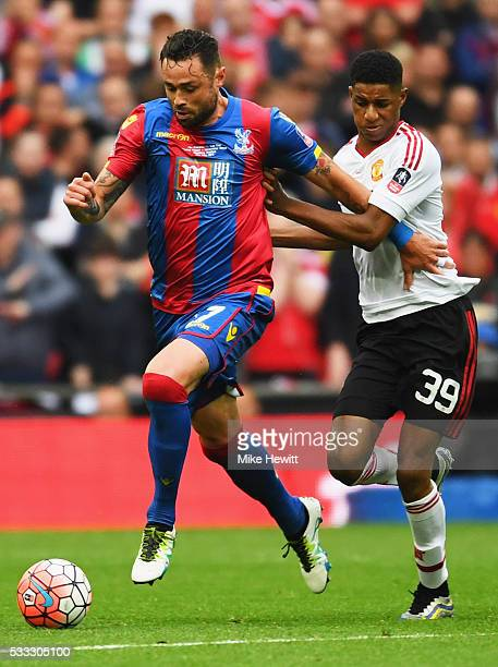 Damien Delaney of Crystal Palace holds off Marcus Rashford of Manchester United during The Emirates FA Cup Final match between Manchester United and...