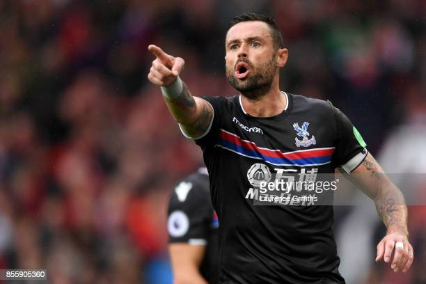 Damien Delaney of Crystal Palace protests during the Premier League match between Manchester United and Crystal Palace at Old Trafford on September...