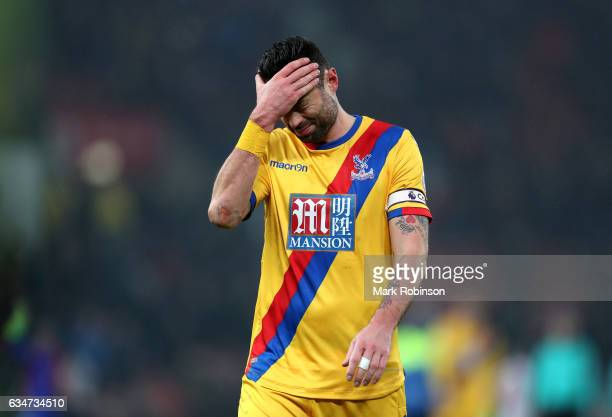 Damien Delaney of Crystal Palace shows dejection after the 01 defeat in the Premier League match between Stoke City and Crystal Palace at Bet365...