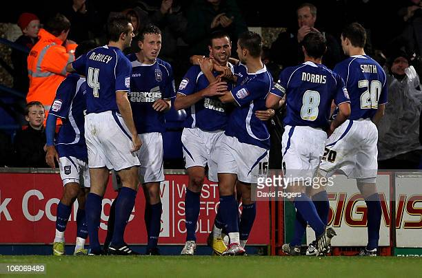 Damien Delaney of Ipswich Town is congratulated by team mates after scoring the second Ipswich goal during the Carling Cup fourth round match between...