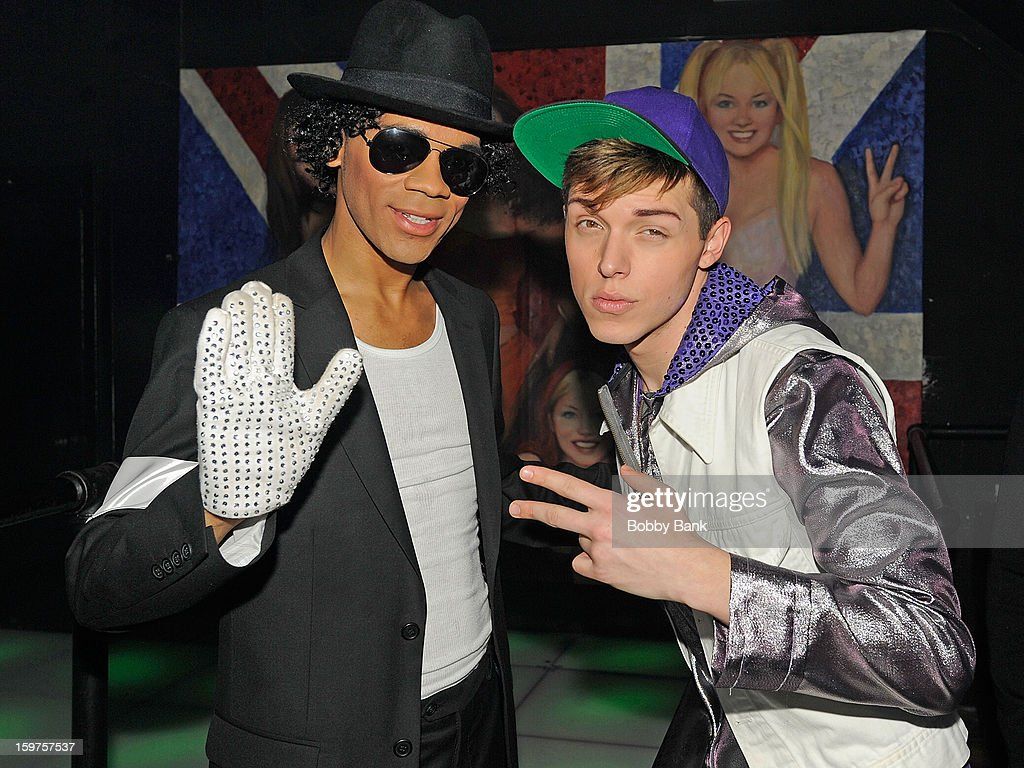 Damien Deshaun Smith as 'Michael Jackson' and Devin Nystrom as 'Justin Bieber' attends Totally Tubular Time Machine at Culture Club on January 19, 2013 in New York City.