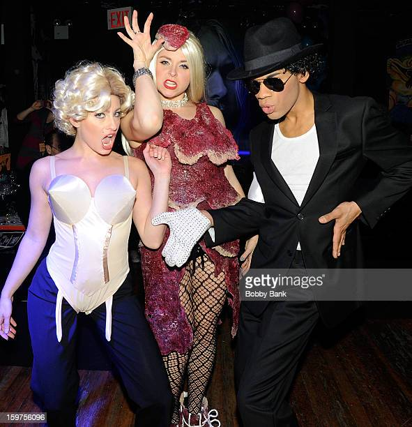 Damien Deshaun Smith as Michael Jackson AnnMarie Sepe as Lady Gaga and Meg Lanzarone as Madonna Past attends Totally Tubular Time Machine at Culture...