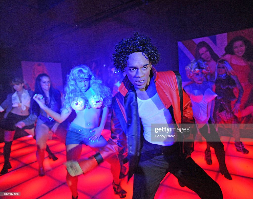 Damien Deshaun Smith as 'Michael Jackson', Meg Lanzarone as 'Madonna Past', Joey Johnson as 'Vanilla Ice',Bevin Bru as 'Katy Perry' and Ann-Marie Sepe as 'Lady Gaga' attends Totally Tubular Time Machine at Culture Club on January 19, 2013 in New York City.