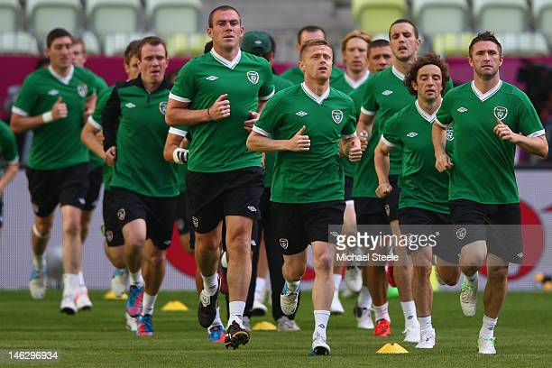 Damien Duff and Robbie Keane of Ireland during a UEFA EURO 2012 training session at the Municipal Stadium on June 13 2012 in Gdansk Poland