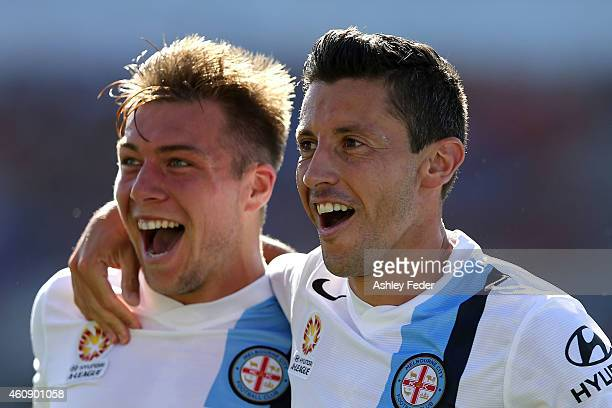 Damien Duff and Robert Koren of Melbourne City celebrates a goal during the round 14 A-League match between the Newcastle Jets and Melbourne City FC...