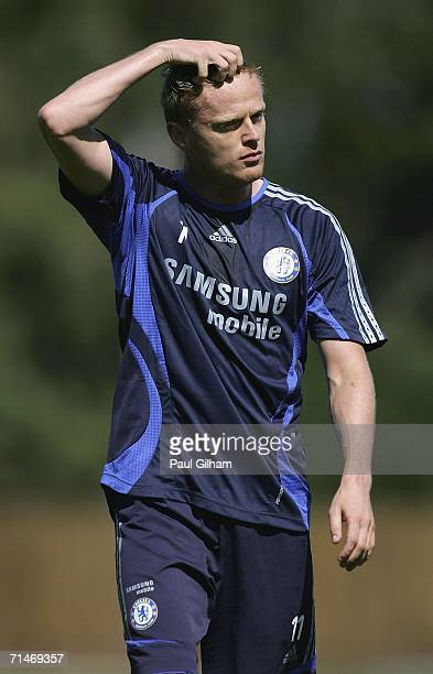 Damien Duff of Chelsea looks on during a training session at Chelsea training ground on July 18 in Cobham, England.