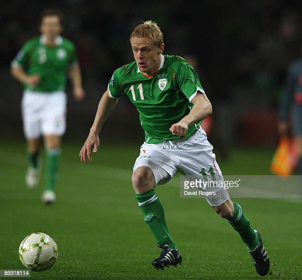 Damien Duff of Ireland during the World Cup qualifying match between the Republic of Ireland and Cyprus at Croke Park on October 15 2008 in Dublin...