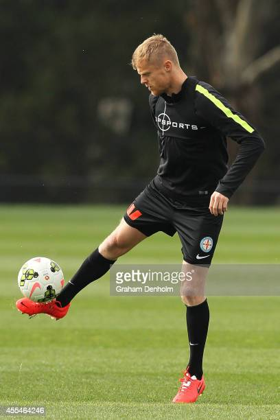 Damien Duff of Melbourne City controls the ball during a training session at La Trobe University Sports Fields on September 15, 2014 in Melbourne,...