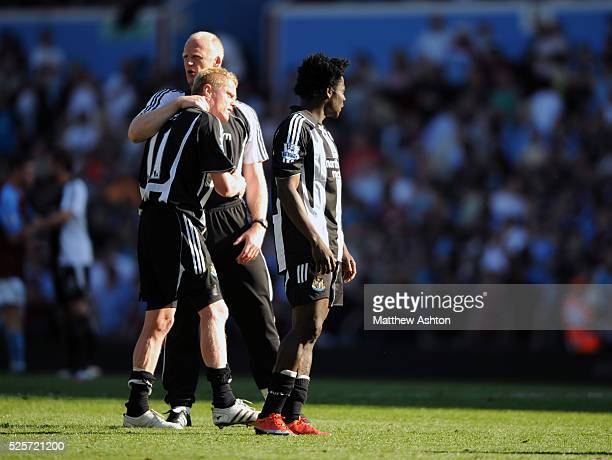 Damien Duff of Newcastle United pictured at the end of the game after he scored an own goal to relegate his team with Iain Dowie