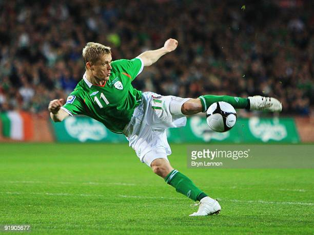 Damien Duff of the Republic of Ireland attempts to score during the FIFA 2010 World Cup European Qualifying match between the Republic of Ireland and...