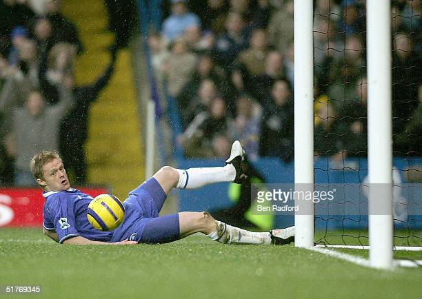 Damien Duff scores for Chelsea during the Barclays Premiership match between Chelsea and Bolton Wanderers at Stamford Bridge on November 20 2004 in...