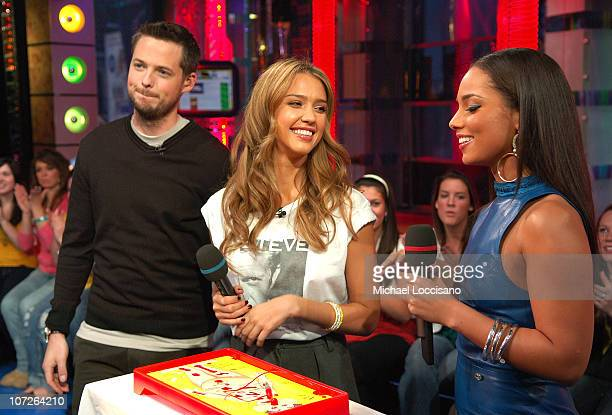 Damien Fahey actress Jessica Alba and musician Alicia Keys during MTV's Total Request Live at the MTV Times Square Studios on November 13 2007 in New...