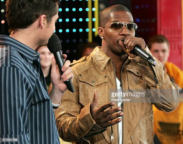 Damien Fahey and Actor Jamie Foxx make an appearance on MTV's Total Request Live on May 4, 2006 in New York City.