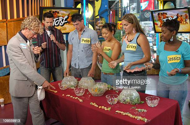 Damien Fahey and Andy Dick with audience members during Andy Dick Ashanti and FeFe Dobson Visit MTV's 'TRL' July 12 2004 at MTV Studios in New York...
