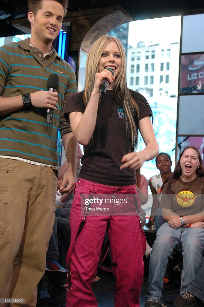 Damien Fahey and Avril Lavigne during Jake Gyllenhaal and Avril Lavigne Visit MTV's 'TRL' - May 25, 2004 at MTV Studios, Times Square in New York City, New York, United States.