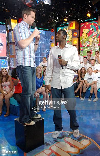 Damien Fahey and Greg Oden during Greg Oden Visits MTV's TRL June 26 2007 at MTV STUDIOS in New York City New York United States