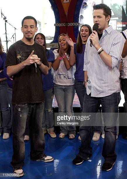 Damien Fahey and Mike Shinoda of Fort Minor during Kellie Pickler and Mike Shinoda Visit MTV's 'TRL' May 1 2006 at MTV Studios in New York City New...