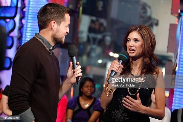 MTV VJ Damien Fahey and MTV VJ Lyndsey Rodrigues on MTV's TRL at MTV Studios on December 10 2007 in New York City
