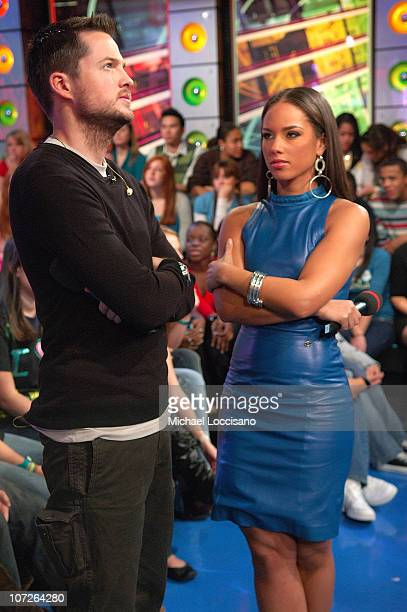 Damien Fahey and musician Alicia Keys during MTV's Total Request Live at the MTV Times Square Studios on November 13 2007 in New York City
