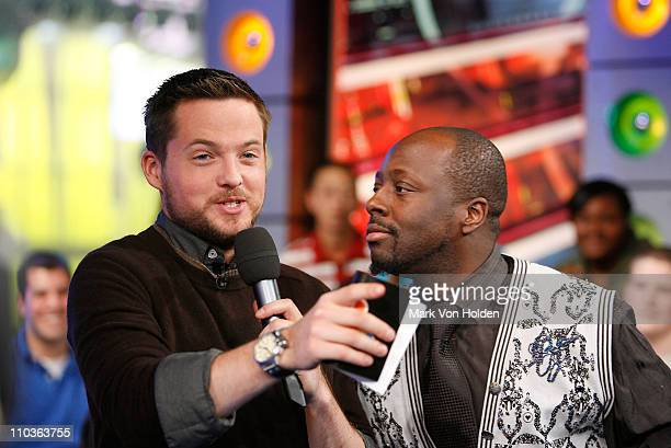 "Damien Fahey and Wyclef Jean on MTV's ""TRL"" at MTV Studios on December 10, 2007 in New York City."