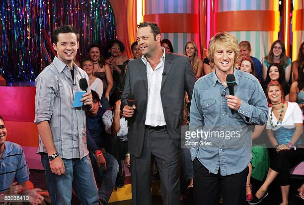 VJ Damien Fahey appears onstage with actors Vince Vaughn and Owen Wilson during MTV's Total Request Live at the MTV Times Square Studios July 14 2005...