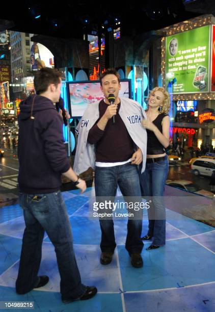 Damien Fahey Ben Affleck and Hilarie Burton during Ben Affleck Liv Tyler Angelina Jolie and Olivier Martinez Visit MTV's 'TRL' at MTV Studios in New...