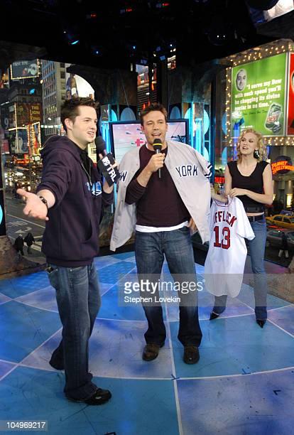 Damien Fahey Ben Affleck and Hilarie Burton during Ben Affleck Liv Tyler Angelina Jolie and Olivier Martinez Visit MTV's TRL at MTV Studios in New...