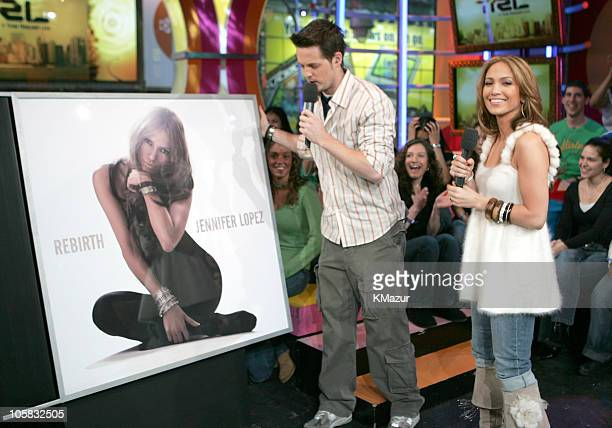 """Damien Fahey, MTV VJ and Jennifer Lopez during Jennifer Lopez Visits MTV's """"TRL"""" - March 1, 2005 at MTV Studios, Times Square in New York City, New..."""