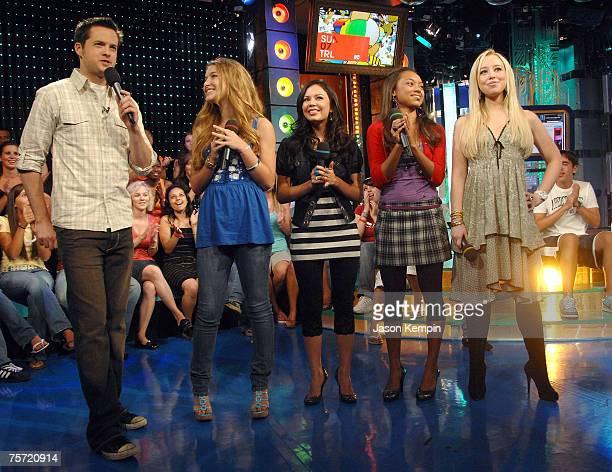 "Damien Fahey, Nathalia Ramos, Janel Parrish, Logan Browning and Skyler Shaye of the movie ""Bratz"" visits MTV's TRL at MTV Studios Times Square on..."