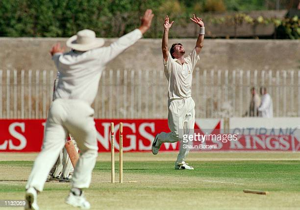 Damien Fleming of Australia celebrates the wicket of Aamer Sohail of Pakistan during the 2nd Test Match at the Rawalpindi Cricket Stadium in...