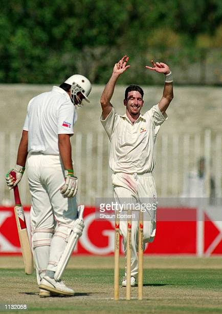 Damien Fleming of Australia celebrates the wicket of InzamamulHaq of Pakistan on his way to a hattrick during the 2nd Test Match at the Rawalpindi...
