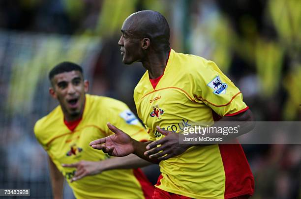 Damien Francis celebrates his goal for Watford during the Barclays Premiership match between Watford and Charlton Athletic on March 3, 2007 at...