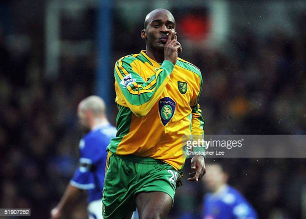 Damien Francis of Norwich celebrates scoring their goal during the Barclays Premiership match between Portsmouth and Norwich City at Fratton Park on...