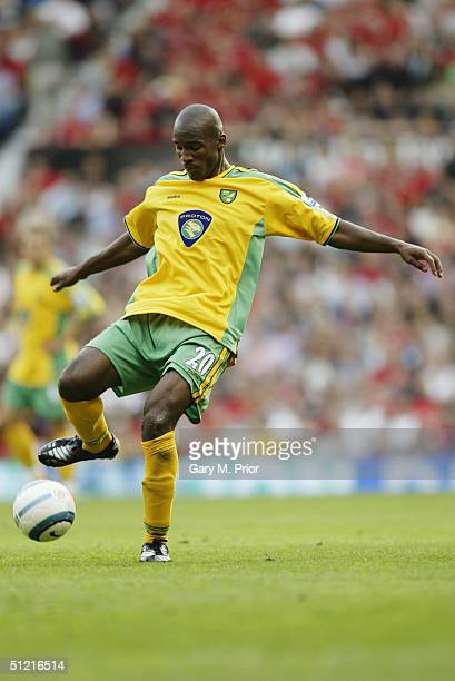 Damien Francis of Norwich City in action during the FA Barclays Premiership match between Manchester United and Norwich City at Old Trafford on...