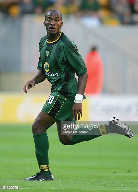 Damien Francis of Norwich in action during the pre-season friendly match between Cambridge United v Norwich City at Abbey Stadium on July 27, 2004 in...