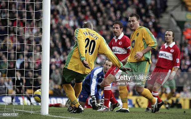 Damien Francis of Norwich scores during the Barclays Premiership match between Norwich City and Middlesbrough at on January 22, 2005 in Norwich,...