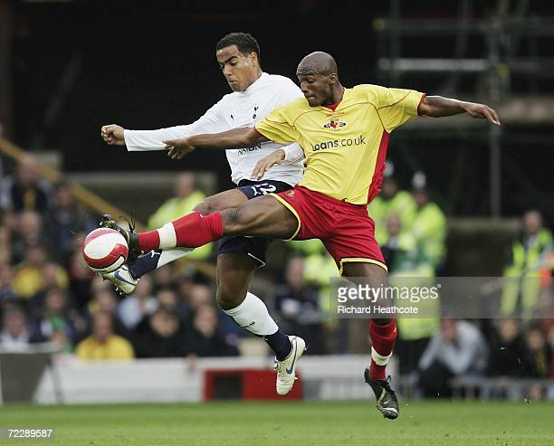 Damien Francis of Watford and Benoit Assou-Ekotto of Spurs challenge for the ball during the Barclays Premiership match between Watford and Tottenham...