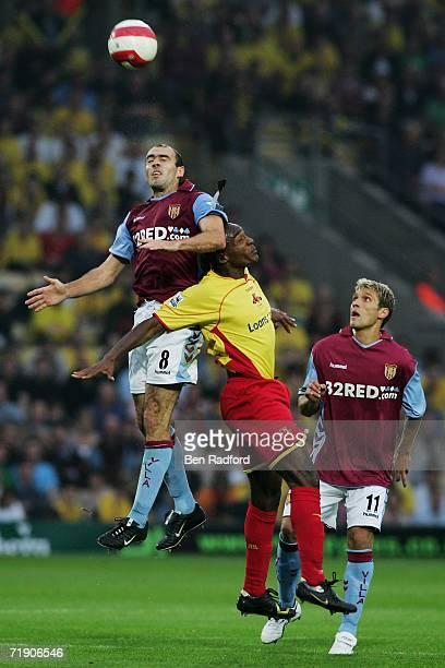 Damien Francis of Watford and Gavin McCann of Aston Villa battle for the header during the Barclays Premiership match between Watford and Aston Villa...