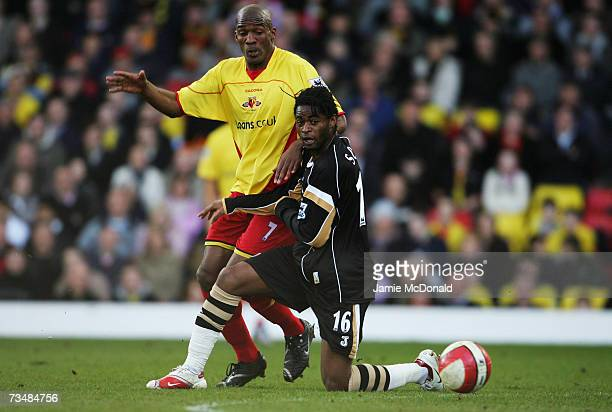 Damien Francis of Watford battles with Alexandre Song of Charlton during the Barclays Premiership match between Watford and Charlton Athletic on...