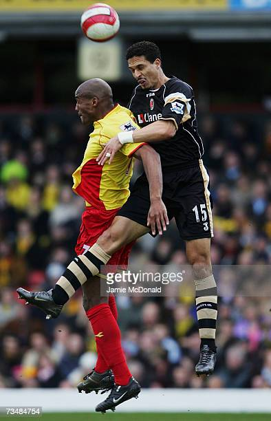 Damien Francis of Watford battles with Talal El Karkouri of Charlton during the Barclays Premiership match between Watford and Charlton Athletic on...