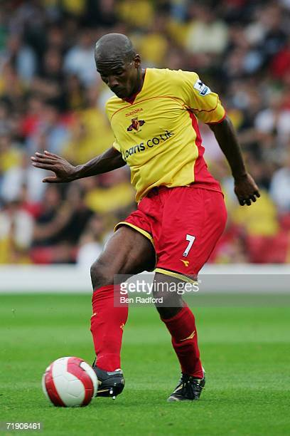 Damien Francis of Watford in action during the Barclays Premiership match between Watford and Aston Villa at Vicarage Road on September 16, 2006 in...