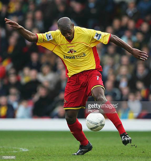 Damien Francis of Watford in action during the FA Cup sponsored by E.ON 5th Round match between Watford and Ipswich Town at Vicarage Road on February...