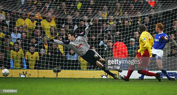 Damien Francis of Watford scores their first goal during the FA Cup sponsored by E.ON 5th Round match between Watford and Ipswich Town at Vicarage...