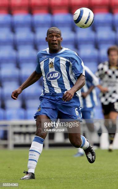 Damien Francis of Wigan in action during the friendly match between Wigan Athletic and Boavista at the JJB Stadium on August 6, 2005 in Wigan,...