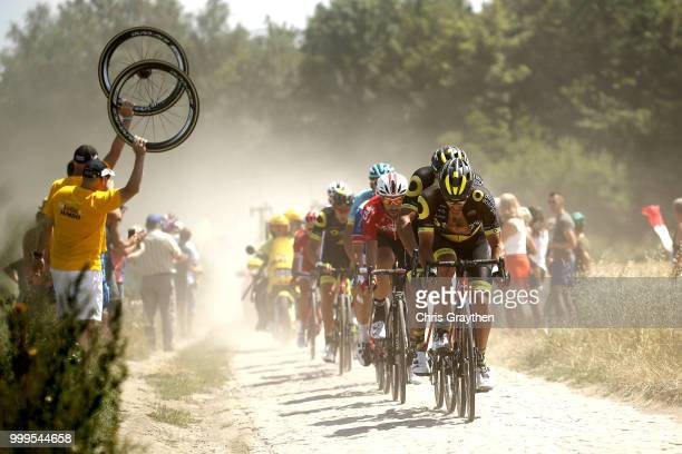Damien Gaudin of France and Team Direct Energie / Thomas De Gendt of Belgium and Team Lotto Soudal / D'auberchicourt À Écaillon Sector 13 / Cobbles /...