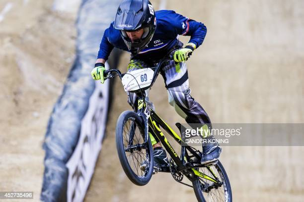 Damien Godet of France rides during a Time Trial race at the UCI BMX World Championships in Rotterdam, the Netherlands, on July 26, 2014. AFP PHOTO /...