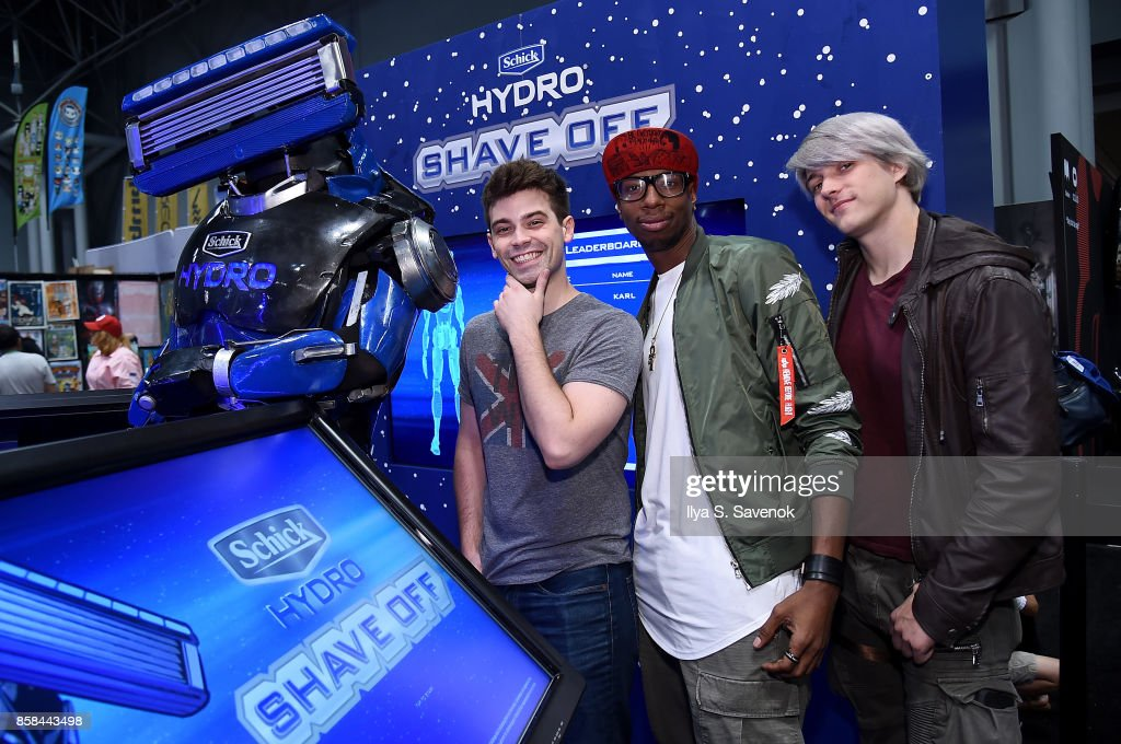 Damien Haas, Amra 'Flitz' Ricketts, and Wes Johnson of the Smosh Games crew hang out with Schick Hydro At New York Comic-Con 2017 on October 6, 2017 in New York City.