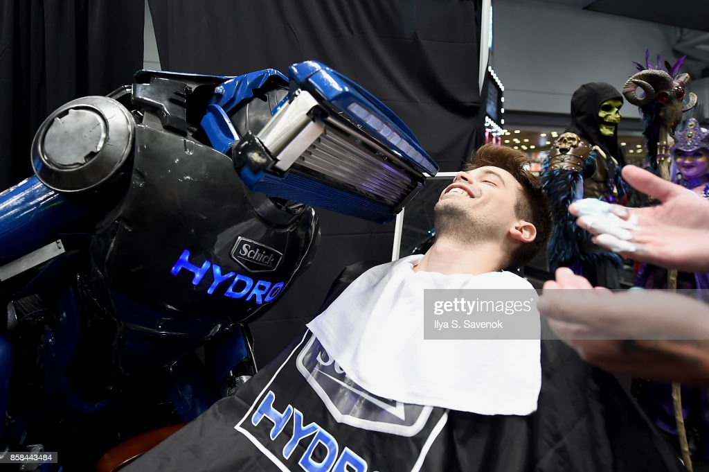 Damien Haas of the Smosh Games crew gets a shave from Schick Hydro At New York Comic-Con 2017 on October 6, 2017 in New York City.