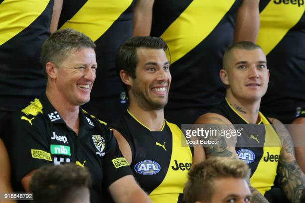 Damien Hardwick coach of the Tigers Alex Rance of the Tigers and Dustin Martin of the Tigers look on during a Richmond Tigers AFL team photo session...