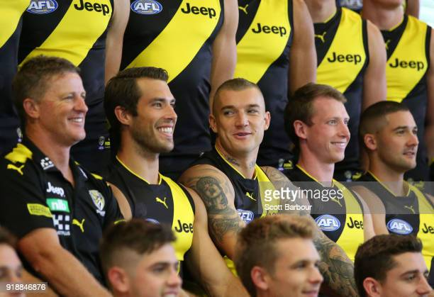 Damien Hardwick coach of the Tigers Alex Rance of the Tigers Dustin Martin of the Tigers and Dylan Grimes look on during a Richmond Tigers AFL team...